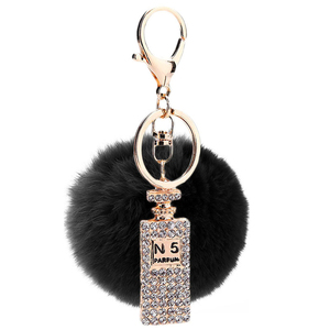 China Supplier Real Rex Rabbit Fur Ball Key Ring Colorful Customized Real Alloy Rhinestone pompom Keychains ,keyring