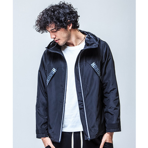 Zipper up front open quilted mens windbreaker hoodie
