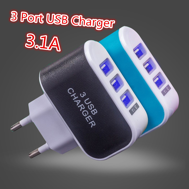 Factory 3 Ports 2A Micro USB EU Plug Charging Adapter Dock Wall phone Charger Mobile charger