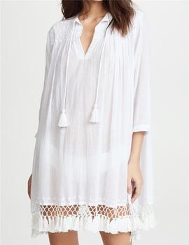 a76221bfb0 Women Custom Summer Cotton Beach Tassel Trim Sheer Tunic Dress - Buy ...