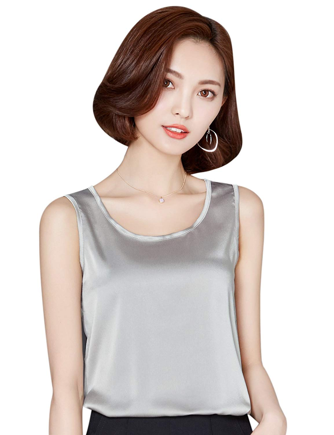 e9dfff8f6ac654 Get Quotations · Alizeal Womens Camisole Silk-Feeling Charmeuse Vest Tops