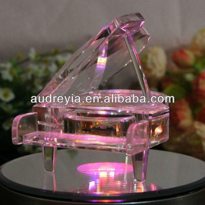 Pink Crystal Music Box Piano Shape - Buy Crystal Music Box,Music ...