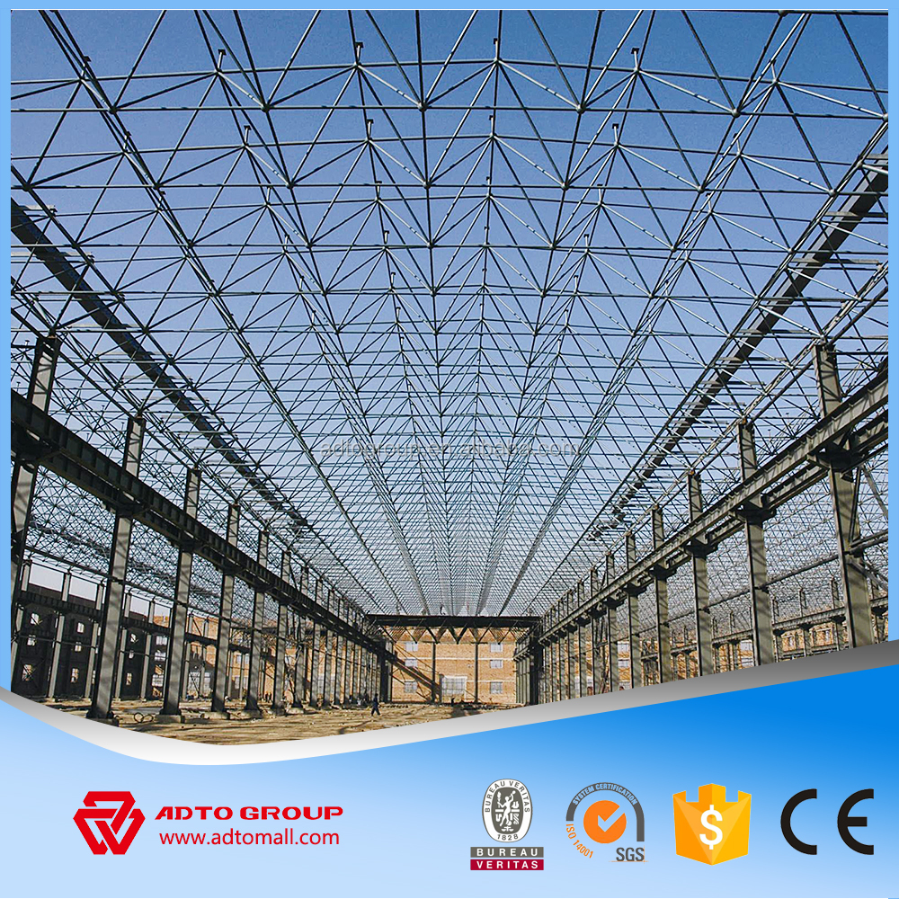 2016 NEW Top Sale Large Span Steel Space Frame Grid Structure Light Gauge Prefabricated Arch Hangar Warehouse Workshop Discount