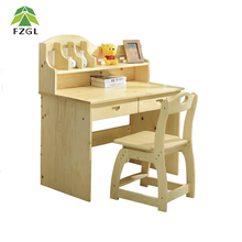 Solid pine wood ergonomic children study writing desk and chair set