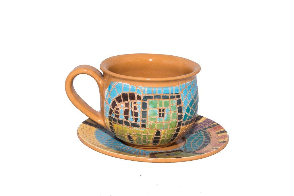 """Coffee Cup With Plate and Handle - Handmade and Hand Painted Mosaic Crafted by Jordanian Artisans (3.3"""" x 2"""" x 3.3"""") For Cup (4.9"""" x 0.7"""" x 4.9"""") For Plate"""