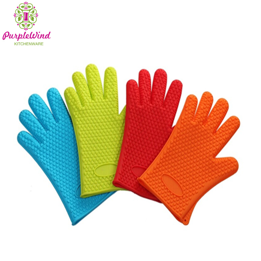 100% FDA Approved food grade heat resistant silicone BBQ gloves