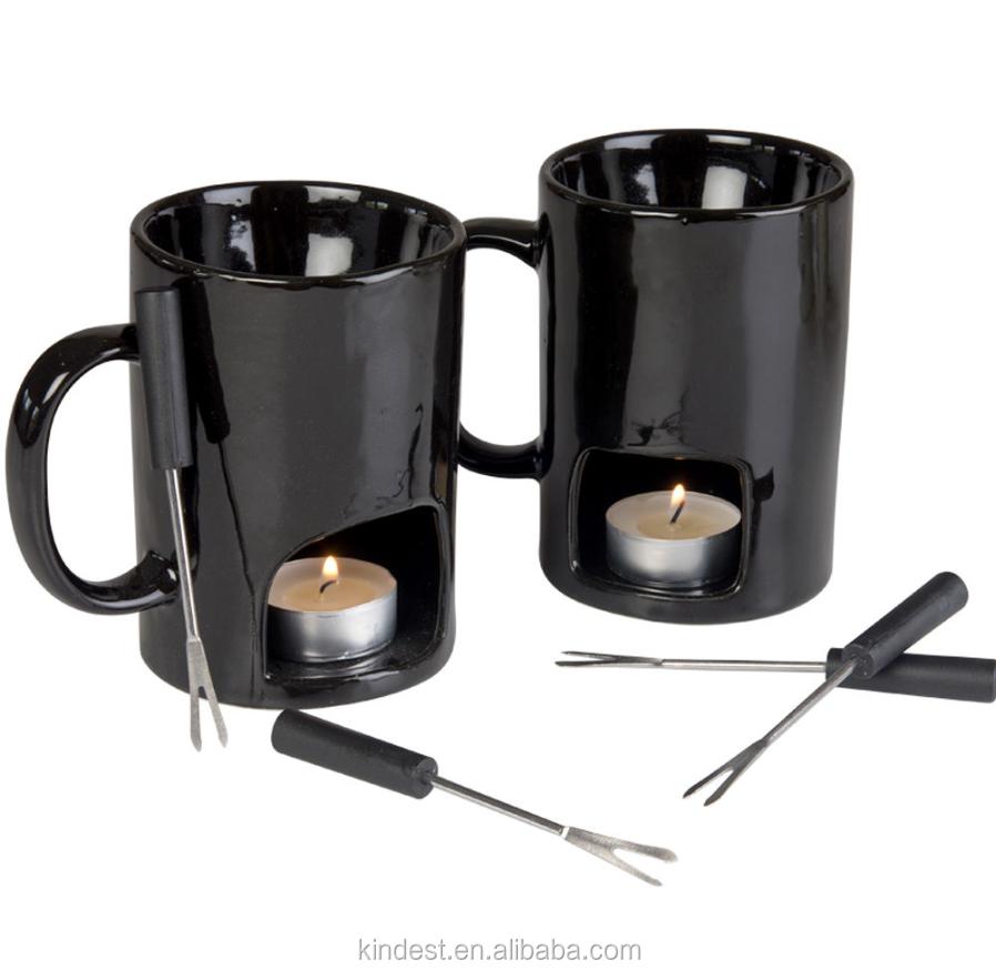 set von 2 persona keramik schokolade fondue tassen eingestellt schwarz oder wei becher produkt. Black Bedroom Furniture Sets. Home Design Ideas