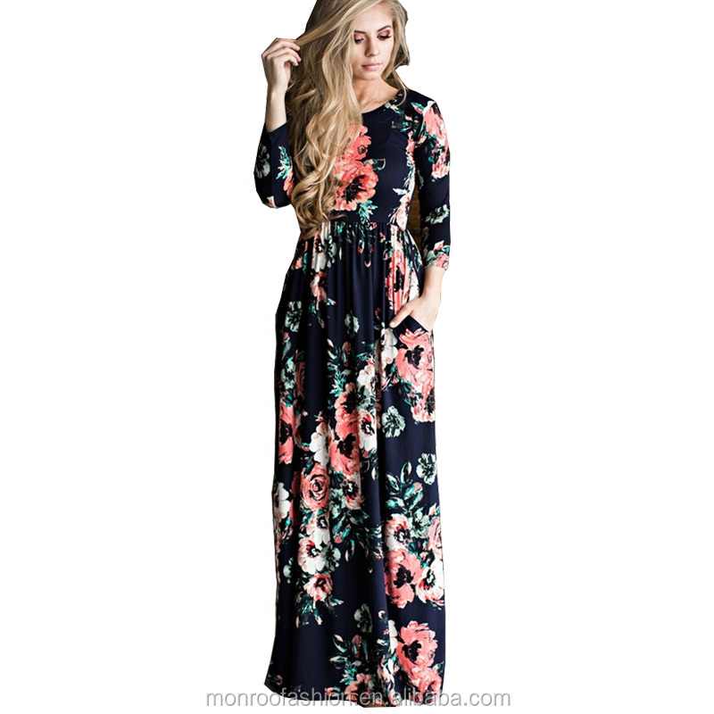 monroo Print Floral Bohemian Long Maxi Dress Floor-Length Summer Beach Dress 2017 Ladies Vintage Retro Sexy Casual Party Dresses