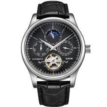 LIGE брендовые классические ретро мужские часы автоматические механические часы турбийон часы из натуральной кожи водонепроницаемые военны...(Китай)