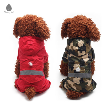 2018 New Cool Funny Wholesale Reflective Strip Dog Rain Coat
