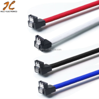 SATA 3.0 III SATA3 7pin Data Cable 6Gb/s Right Angle Cables HDD Hard Disk Drive Cord line with Nylon Premium Sleeved 50CM