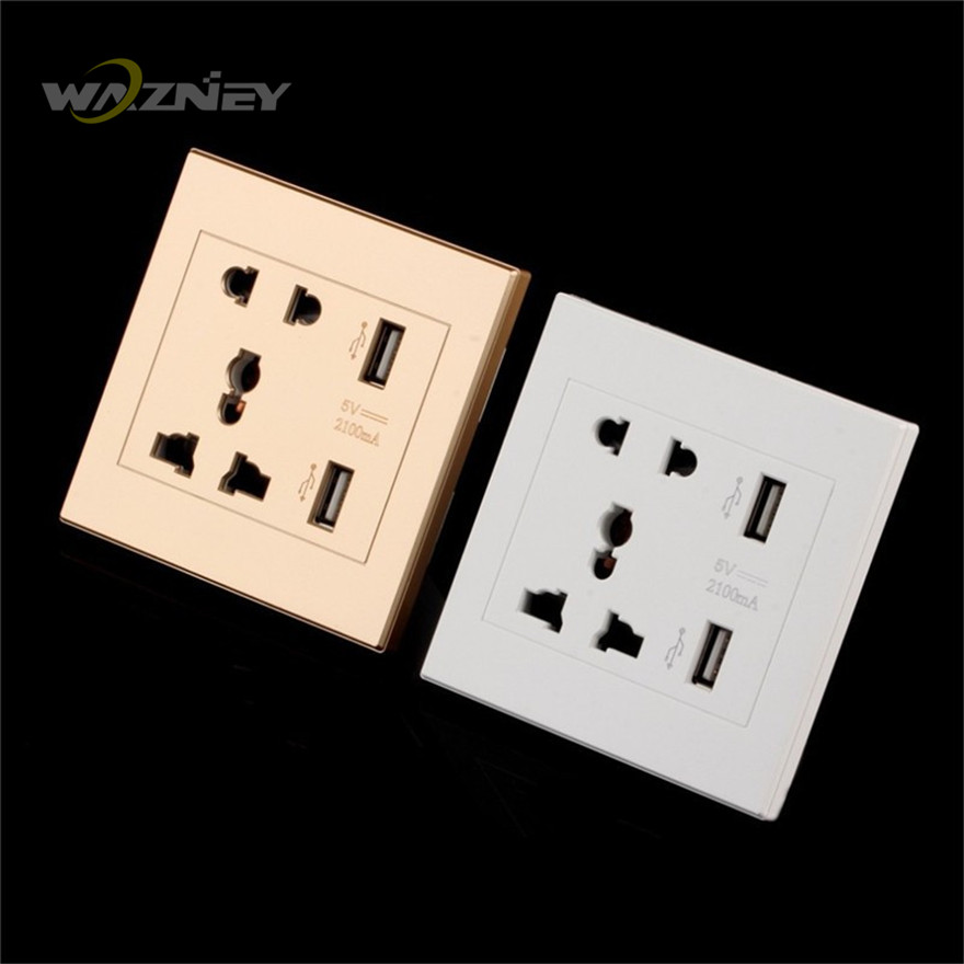 Universal USB Wall Socket AC 110-250V US UK EU AU Wall Socket 2 Port 5.0V 2.1A USB Outlet Power Charger for Cellphone