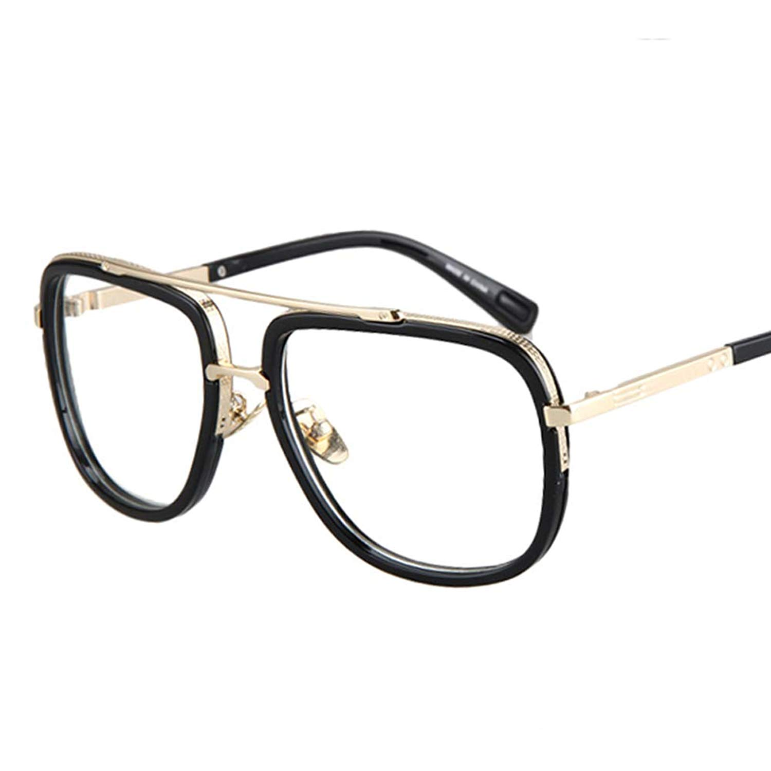 22989b5744 Get Quotations · Square Frame Glasses Male Half Metal Frame Clear Lens  Retro Eyeglasses Women