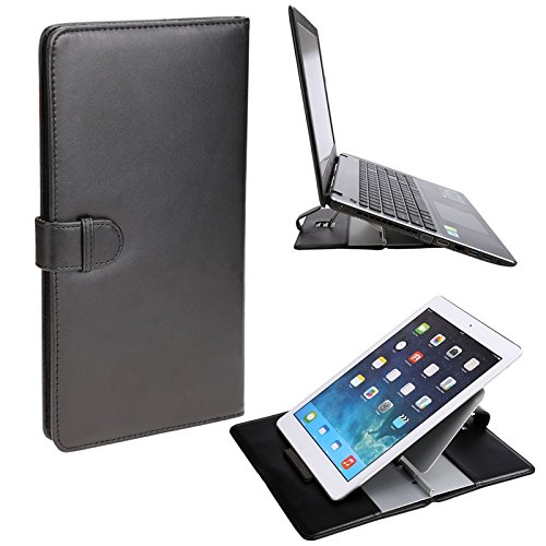 Coocheer Adjustable Tablet Stand, Universal Folding leather stand for laptop, iPad, Ereaders and Smartphones with Aluminum holder