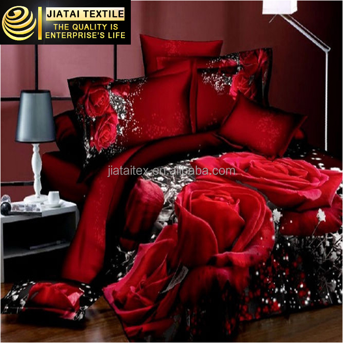 3d printed big flower bedding set red rose 100% cotton bedding set