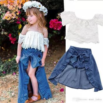 a9a584378 Los niños de verano de chica ropa de encaje de hombro blanco Tops +  pantalones cortos