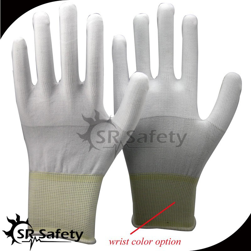 SRSAFETY 13g white polyester coated pu ladies flex gloves