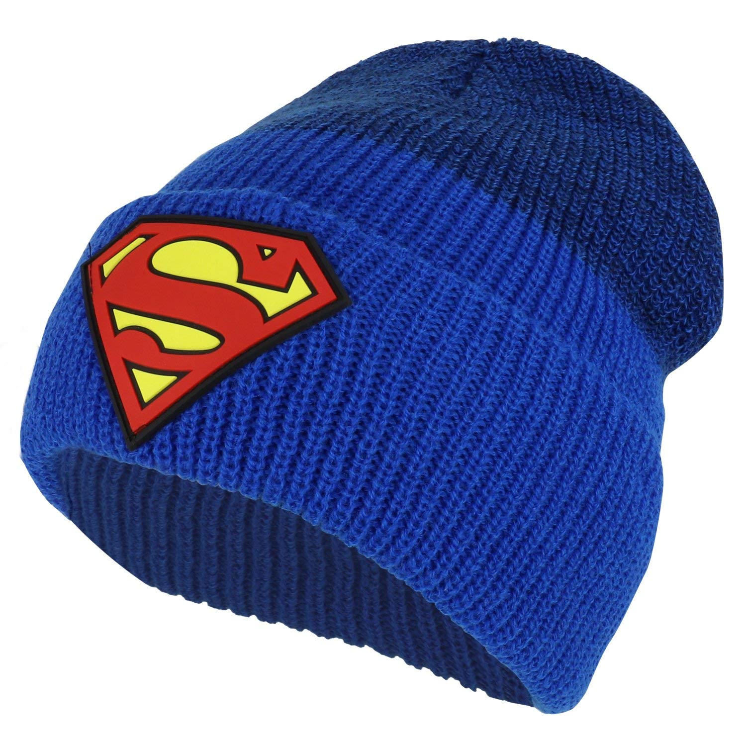 Armycrew Officially Licensed Superman Rubber Logo Two Tone Cuff Long Beanie