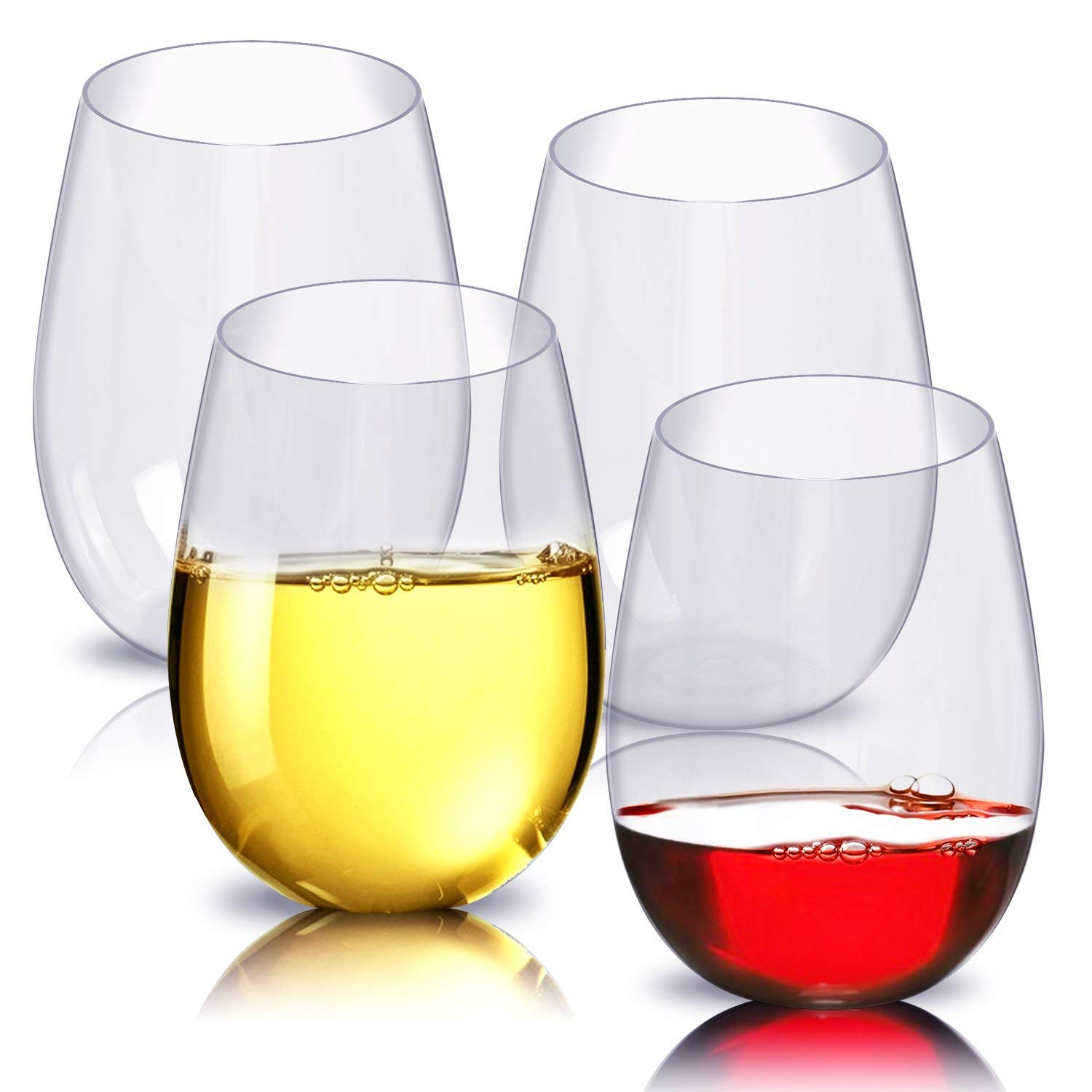 Stemless Red Wine glasses Set of 4 Shatterproof&Scratch-Resistant BPA&EA Free Wine Cup Perfect For ALL kinds of Wine&drinks and Suit for various parts & gifts choose Noble&Elegant Red wine glass 16oz