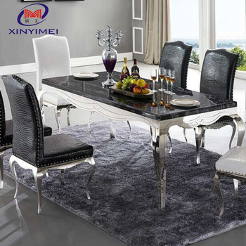 Modern royal marble stainless steel dining table design for banquet hall