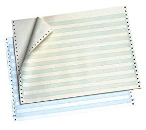 "OfficeMax Continuous Computer Form Paper, 14-7/8""W X 8-1/2""L, 1 Part, 18 lb. Bond, 1/8"" Green Bar, with no vertical"