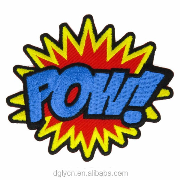 "Logo customWord ""POW"" Patch sew On / Iron On DIY Patch Embroidered Applique"