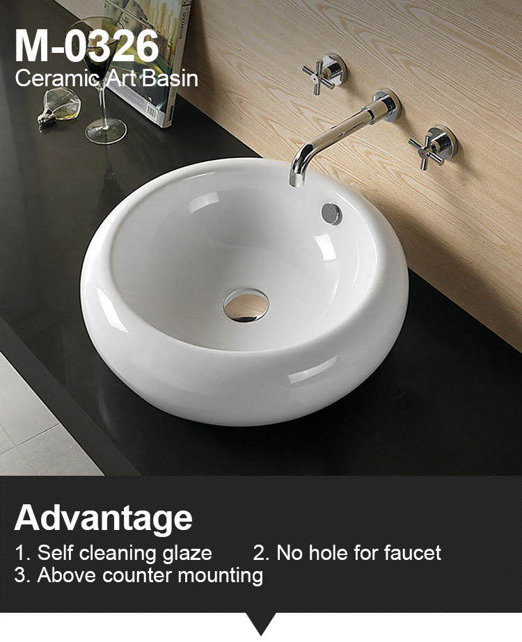 Lavatory ceramic top porcelain round sink