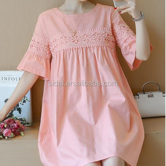 flare sleeves crochet lace women fashon cotton pergnant dress