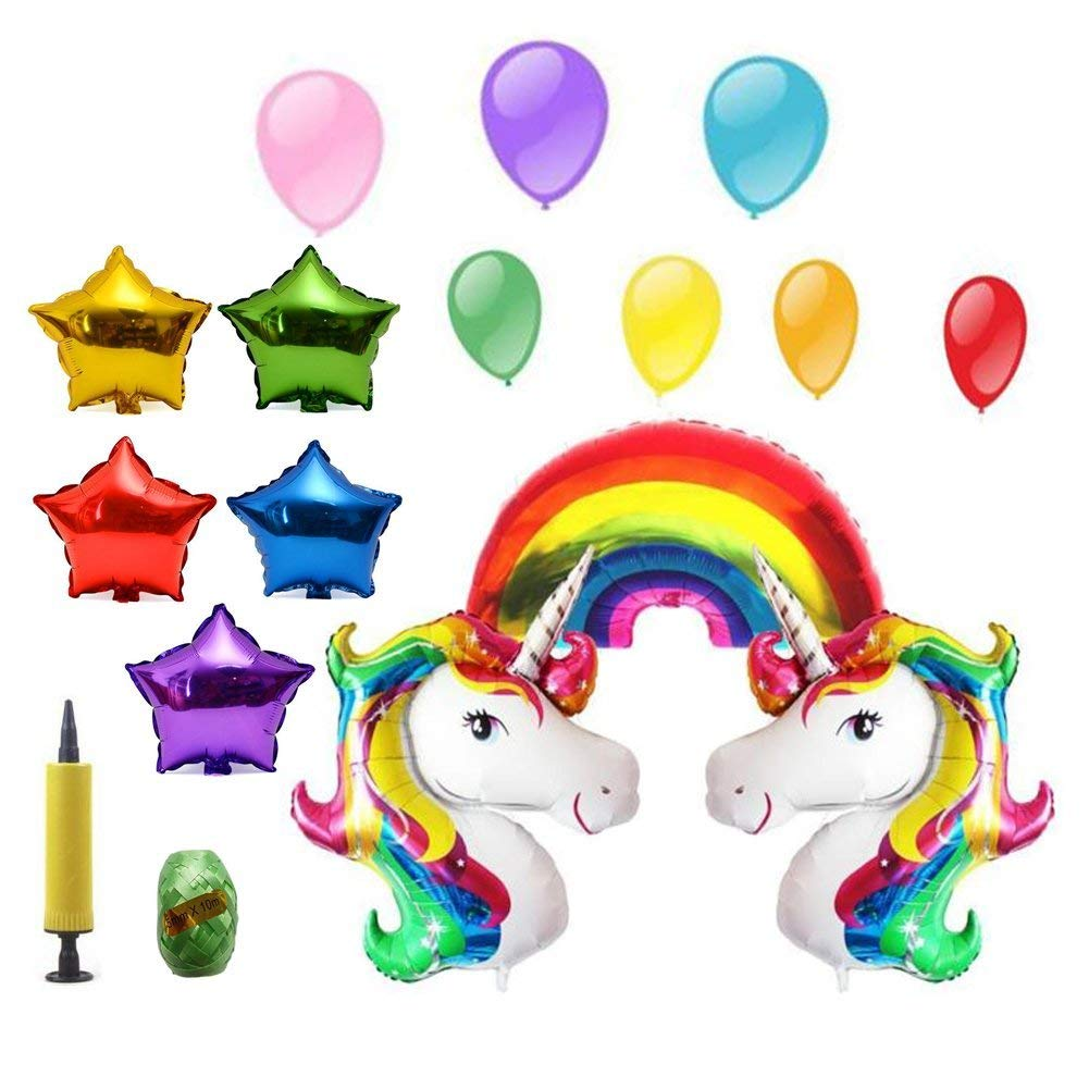 30f97fb0d51c8 Get Quotations · 17 Pack Unicorn Balloons Huge Bright Rainbow First  Birthday Party Decorations 24inch Colorful Star Happy Birthday
