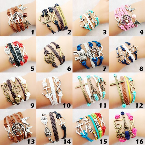 Factory wholesale fashion leather alloy charm braieded bracelet