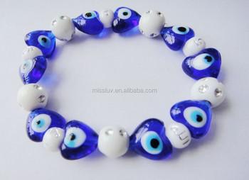 Turkish Gl Blue Evil Eye Beads Bracelet Handmade Heart Beaded Bracelets For Women