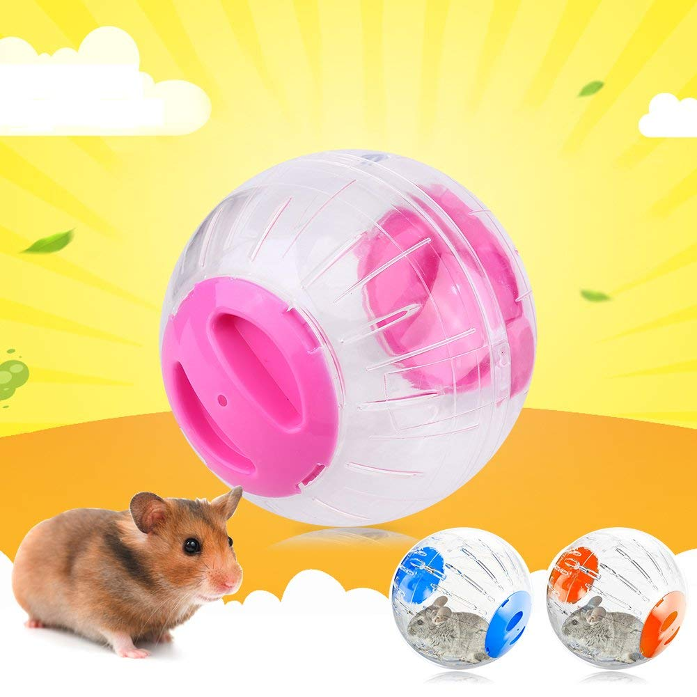 Acogedor Hamster Ball, Exercise Ball -Hamster Playball Toy, Portable Pet Play Toy Transparent Small Animal Activity Toy Hamster Ball, Pink/Blue/Orange, 12cm