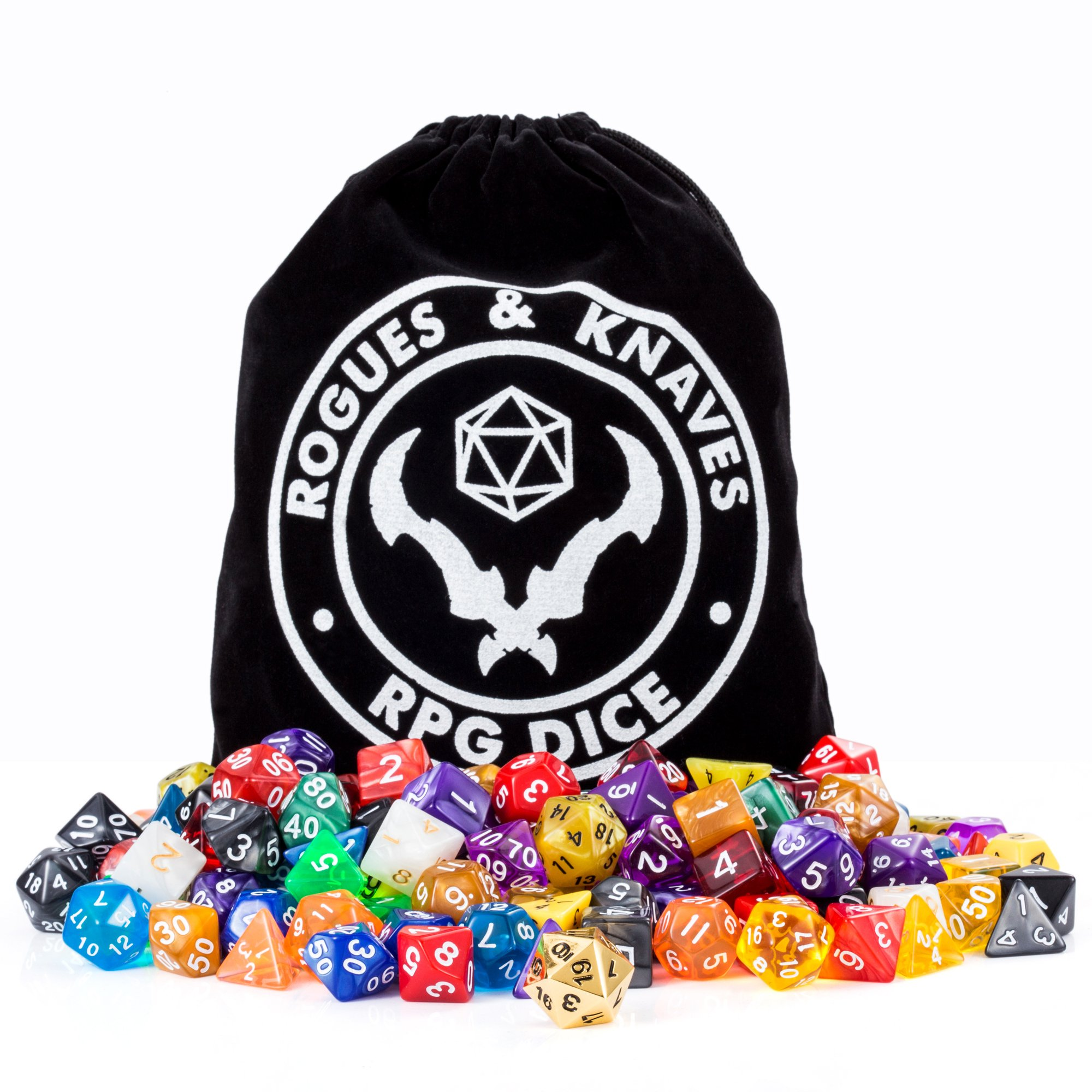 Rogues & Knaves 18 Dice Sets D&D (126 Polyhedral Dice!); Bonus Metal D20, Large Velvet Dice Bag; Sets of Dice for Dungeons & Dragons, RPG Games, Pathfinder, MTG, Math Games.