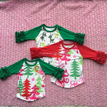 wholesale boutique childrens girl fall clothes tree print icing raglan shirt christmas tops