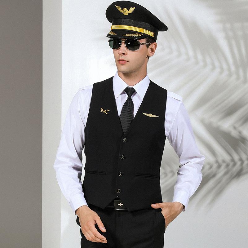 Aviation vest waistcoat with pocket black sleeveless vest for men custom suit vest male waistcoat