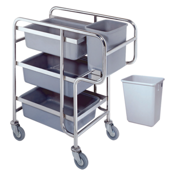 Stainless Steel Tube Restaurant collecting cart with wheels