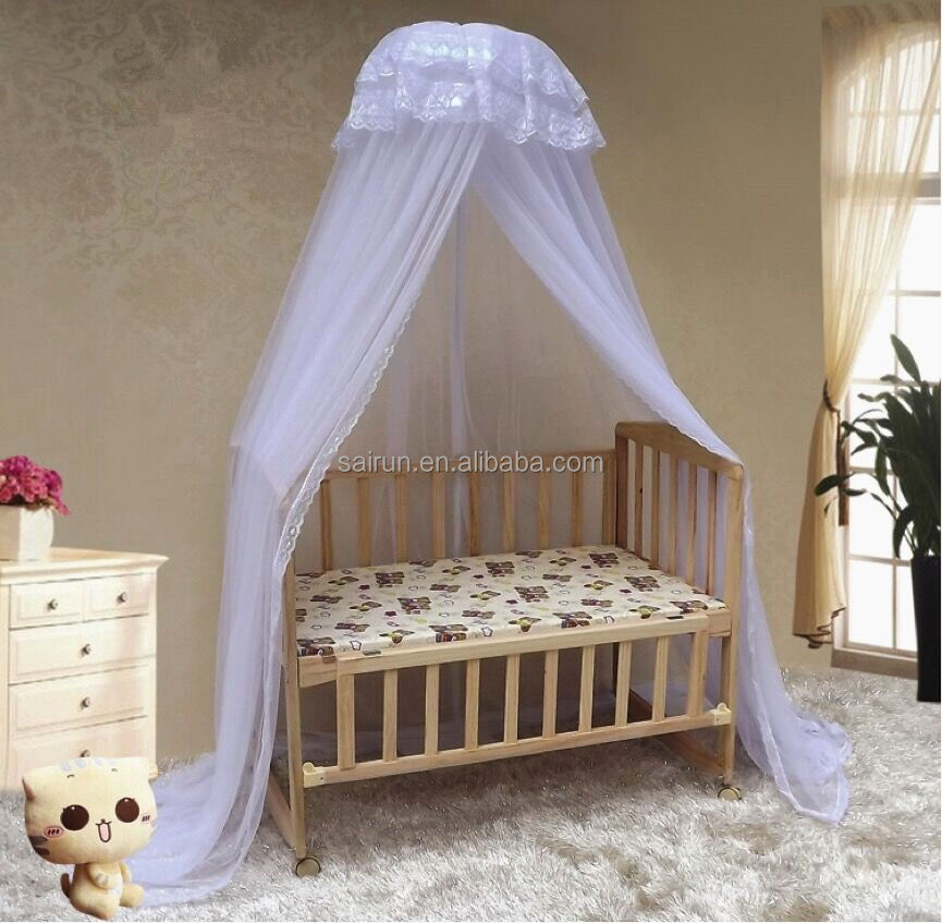 2017new style round baby bed playpen mosquito net with brackets stand