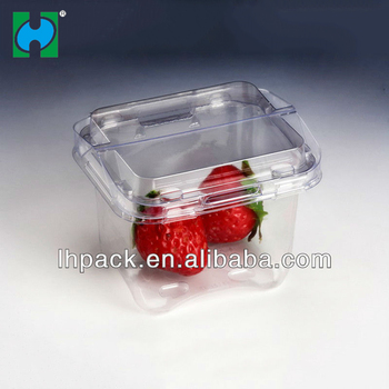 Food Grade Blister Plastic Pet Packaging Fruit Strawberry Punnet Box Container With Handle