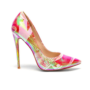 Stylish Party Fluorescent Print Pumps Heels Female Shoes Women