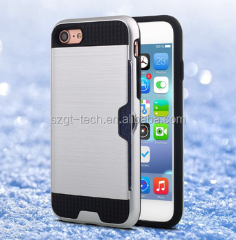 Rugged metal case for iPhone apple mobile phone card holder case for apple iPhone 7 tpu pc case