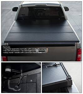 """Topline Autopart Solid Tri-Fold Tri Fold Hard Tonneau Truck Topper Cap Cover Trunk Lid Kit With LED Stick Touch Lamp JR For 04-12 Chevy Colorado / GMC Canyon Regular / Extended Cab 6 Feet 72"""" Bed"""