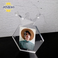JINBAO Small Free standing Polished High Clear Acrylic Magnetic Picture Photo Frame With Strong Magnetic Easy Installation