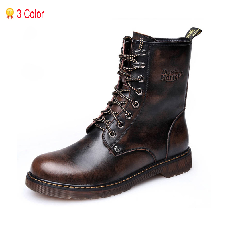 2015 New Genuine Leather Autumn Boots Men Boots For Men's