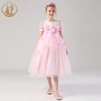 Nimble 2019 New High Quality Pink Applique Long Party Wedding Kids Dress Sweet Flower Girl Dress Of 9 Years old