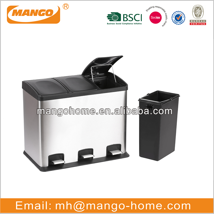 Household stainless steel kitchen cabinet sorting waste bin