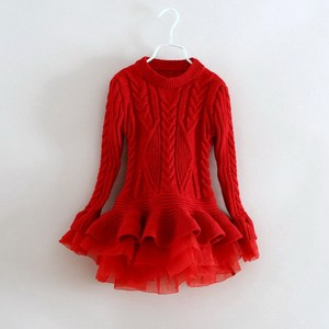 full tulle red dress kids long sleeve sweater dress with OEM service