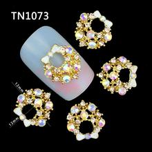 10 Pcs Glitter Gold Bow With Letters 3D Rhinestones For Nail Art Decorations On Gel Polish