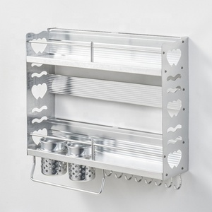 Wall Mounted Kitchen Shelves Space Aluminum Kitchen 2 Layer Spice Rack
