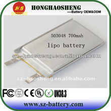 Super quality and Long cycle life li-ion battery 700mah li-ion batterie 053048