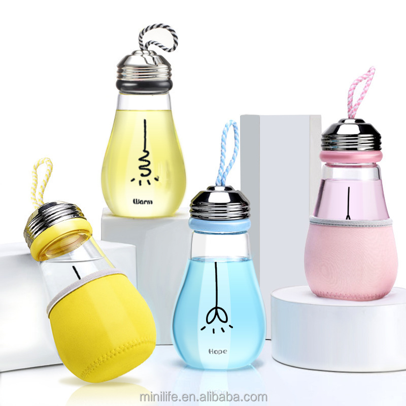 Wholesales China Transparent Drinking 200ml 400ml 500ml Glass Light PET Bulb <strong>Bottle</strong> for Beverages Juice